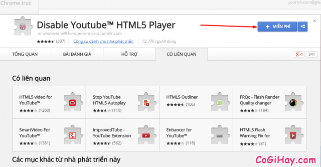 cài ứng dụng disable youtube html5 player