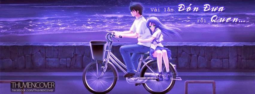 Ảnh bìa hoạt hình tình yêu lãng mạn trên chiếc xe đạp