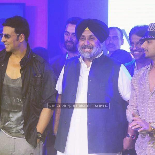 Akshay Kumar, Sukhbir Singh Badal and Yo Yo Honey Singh during the launch of World Kabaddi League, held at Le Meridian, New Delhi, on July 24, 2014.