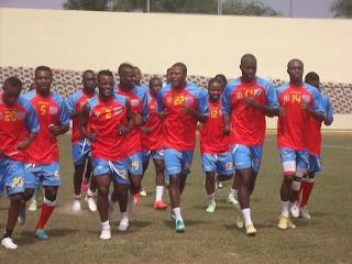 Les Léopards de la RDC en plein séance d'entrainement au centre d'Ebebiyin, en Guinée. Radio Okapi/Ph. Nana Mbala.