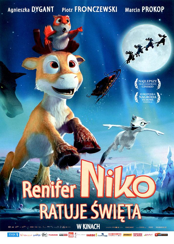 Ulotka filmu 'Renifer Niko Ratuje Święta (przód)'