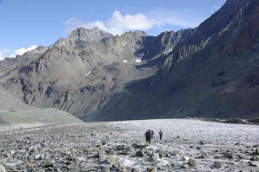 Descente du haut glacier d'Arolla