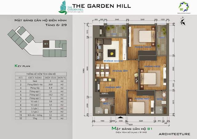 Căn B1 tầng 6,7 garden hill - 99 trần bình