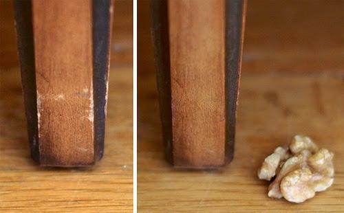 como quitar las rayaduras de los muebles con una nuez