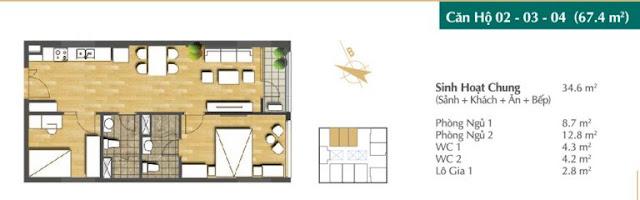 Thiết kế căn hộ 02-03-04 (67,4m2)
