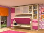 Dormitorio con armarios, estanterias, mesa de estudio y cama abatible