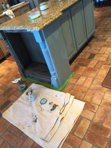 Crafty southern mama painted kitchen island in annie for Duck egg blue kitchen island
