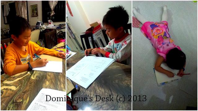 The kids doing their homework
