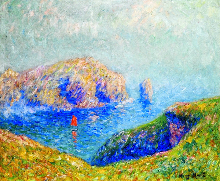 Henry Moret - View of the Bay with Sailboat , 1912