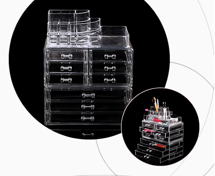 9 Drawers Cosmetic Organizer Clear Acrylic Makeup Case Box Jewelry Storage Premium Set Clear View