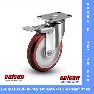 Bánh xe inox 304 bánh xe PU chịu tải trọng trung bình, bánh xe nhự PU
