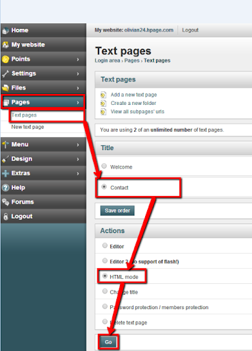 embed online forms on hPage