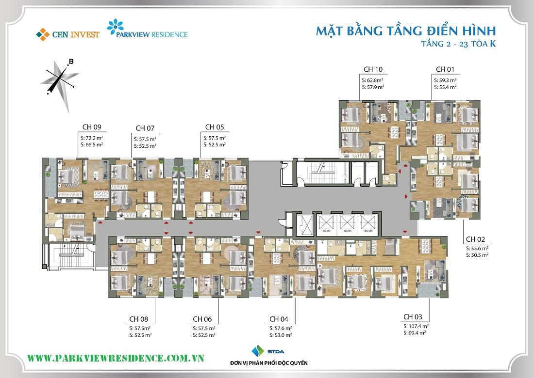 Mặt bằng tầng điển hình tòa K (tầng 2-23) tiểu khu Parkview Residence