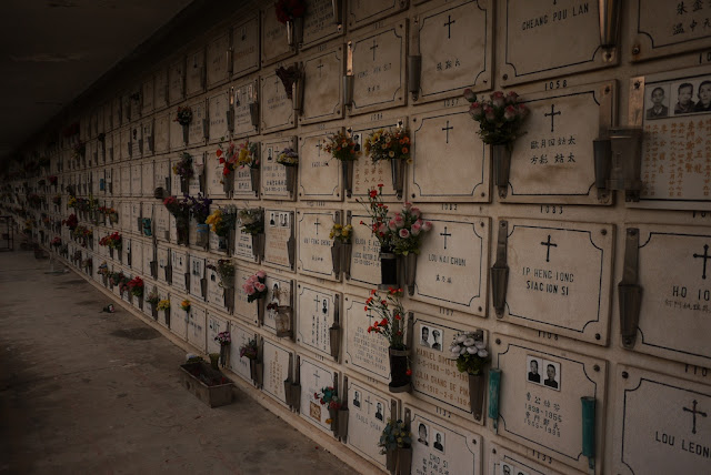 final resting places, some with photos, at the Cemetery of Saint Michael the Archangel in Macau