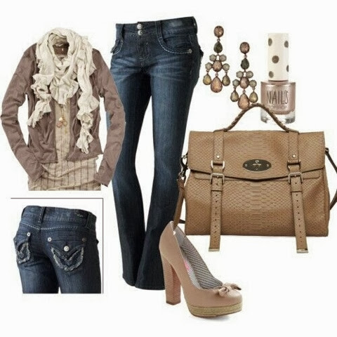 White scarf, Brown jacket, jeans, high heel sandals and brown handbag