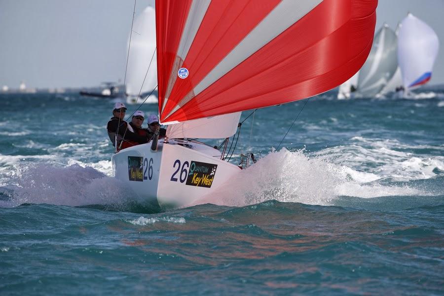 J70 sailing fast under spinnaker off Florida Keys