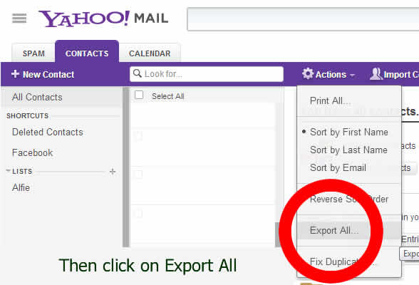 Export Yahoo contact email addresses - pictorial by dorsetdog.cm