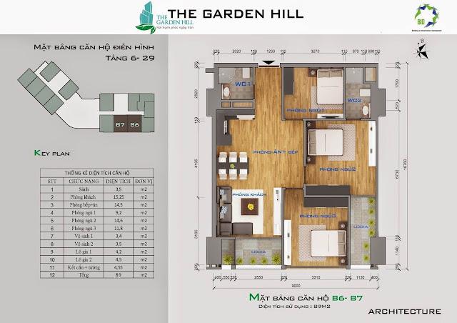 Căn B6, B7 tầng 6 đến 29 garden hill - 99 trần bình