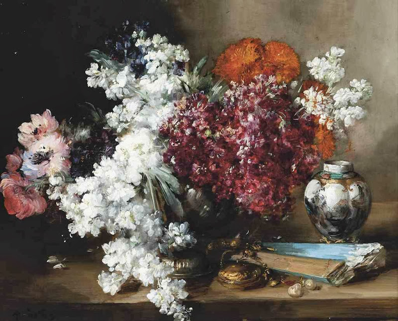 Antoine Vollon - Anenomies and marigolds by a vase and a fan on a stone ledge