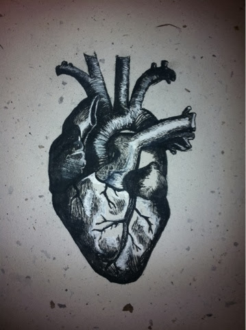 Human Heart drawn by emac, India Ink on handmade natural paper