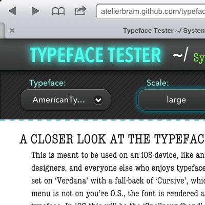 Lettertype Tester - screenshot header; ontwerp van Atelier Bram de Haan