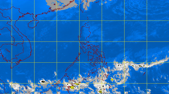 Satellite image of the tough of low pressure area (LPA) outside the Philippine area of responsibility