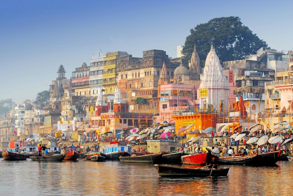 holy city ofVaranasi Panoramic from Ganga river