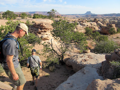 Starting the descent on the Chimney Rock route into the Maze