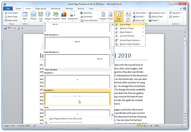 Microsoft Word 2010 Page Numbering