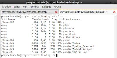 Imagen de ver espacio de disco duro en la consola de linux