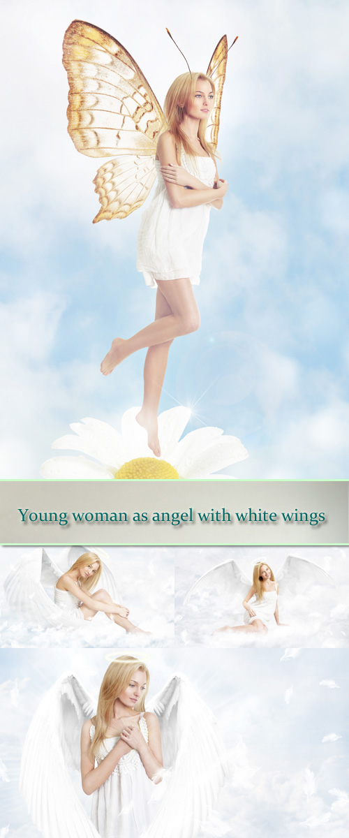 Stock Photo: Young woman as angel with white wings