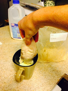 Dip chicken into egg and milk mixture