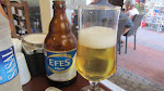 Back in Kusadasi, we found a great cafe for lunch and Turkish beer