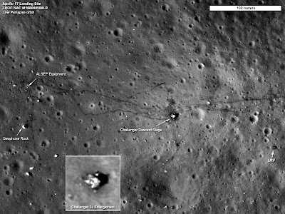 Apollo 17 landing site imaged by Lunar Reconnaissance Orbiter.  Credit:  NASA's Goddard Space Flight Center/ASU