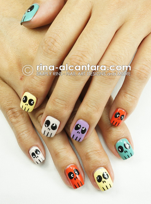 Skulls Skittles Nail Art Design