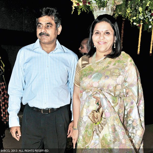 Vishweshwar and Sangeeta arrive to attend Hitesh Chenchuram and Sri Puja's wedding ceremony, held in the city recently.