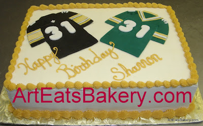 Packers and Steelers jerseys Super Bowl birthday party cake