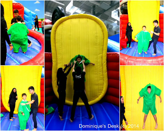 Monkey boy being stuck  on the velcro wall