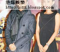 童菲與霆鋒在晚上的首映依然拘謹,不敢太過親密。