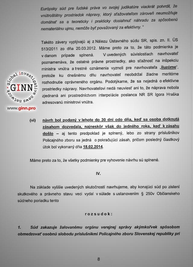 Žaloba GINN vs Robert Kaliňák a Ministerstvo vnútra, strana 8