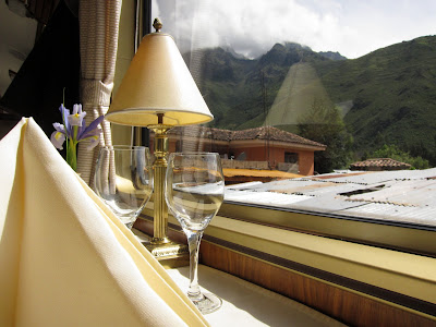 Dining table on the Hiram Bingham luxury train to Machu Picchu in Peru