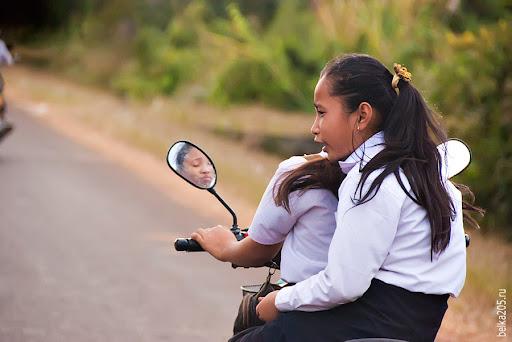 Laos,Pakse, motorcyclists