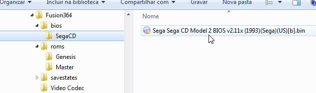 Arquivo da BIOS de Sega CD colocada na pasta raíz do Fusion