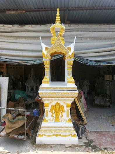 ศาลพระพรหม 9 นิ้วใหม่ เสาช้างสามเศียรยอดมงกุฎ ขนาดฐานล่าง 105X105 ซม