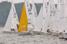J/22 one-design sailboats- sailing Travemunde, Germany