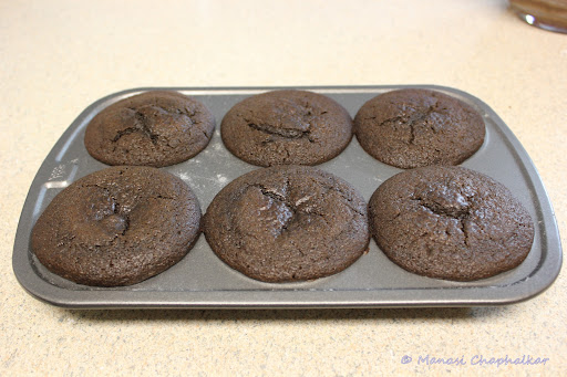 Eggless Molten Choco Lava Cake baked in Muffin Pan