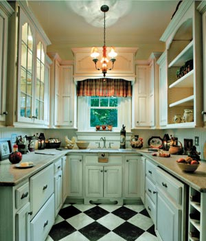 Cozy And Traditional Painted Butlers Pantry, Love The Checkerboard Floor,  Photo By Bill Leddon