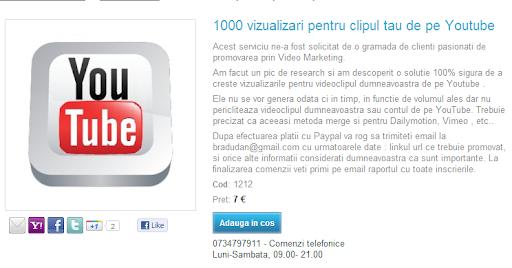1000 de vizualizari pe Youtube