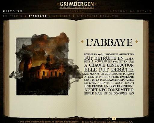 Bruselas Valonia: Página web de la cerveza de abadía Grimbergen, donde se cuenta la historia de la propia abadía