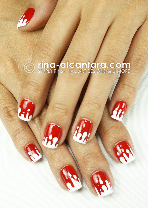 Blood Spill Nail Art by Simply Rins